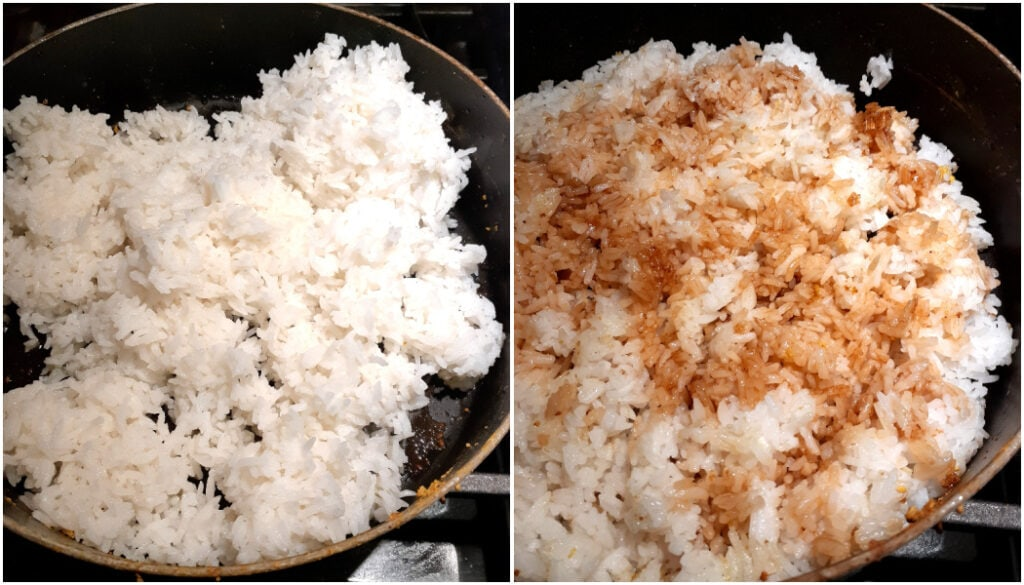 Picture of white rice being added on left, then soy sauce being added to the rice on the right.