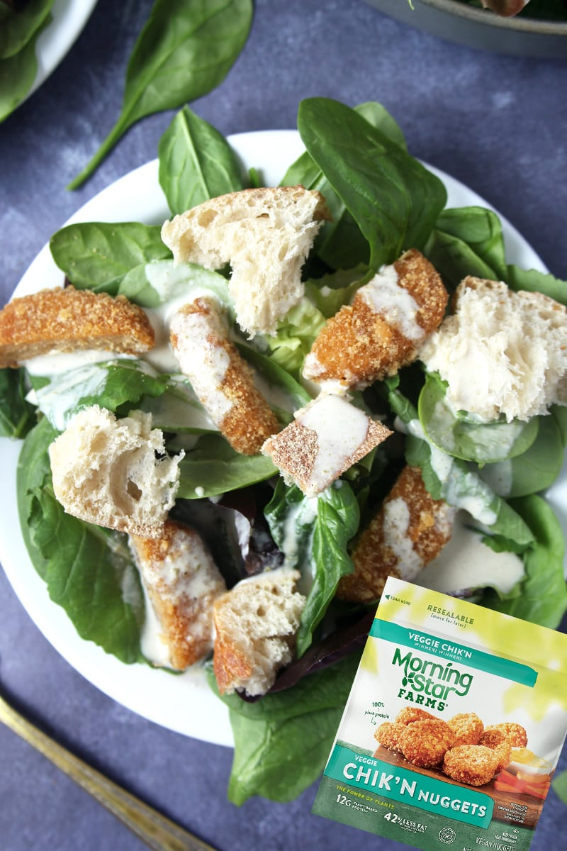 Picture of vegan chicken Caesar salad made with Morningstar chicken nuggets.