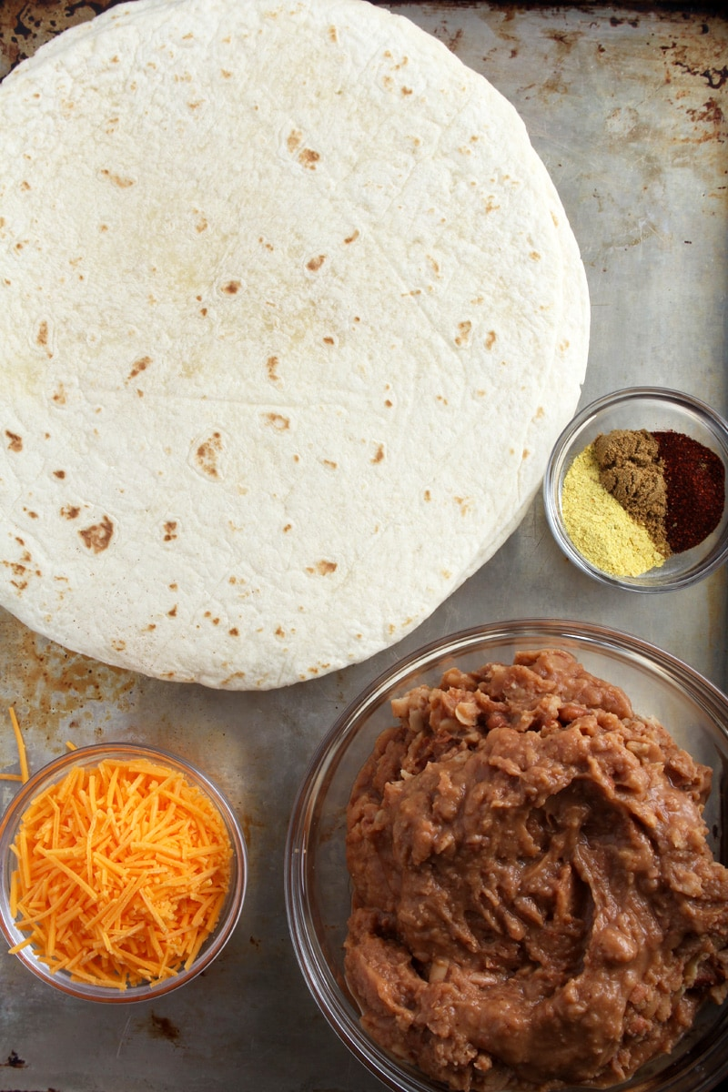 A picture of the ingredients for chimichangas.