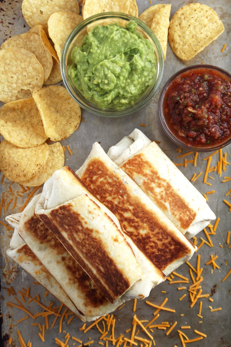 overhead picture of chimichangas stacked.