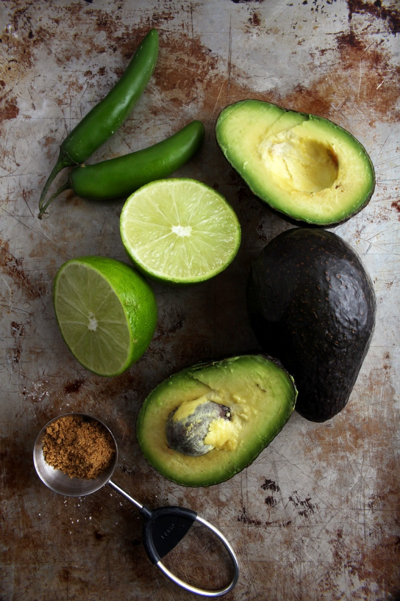 Picture of the ingredients needed for homemade guacamole.