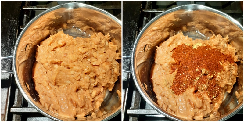 image of refried beans on stove.