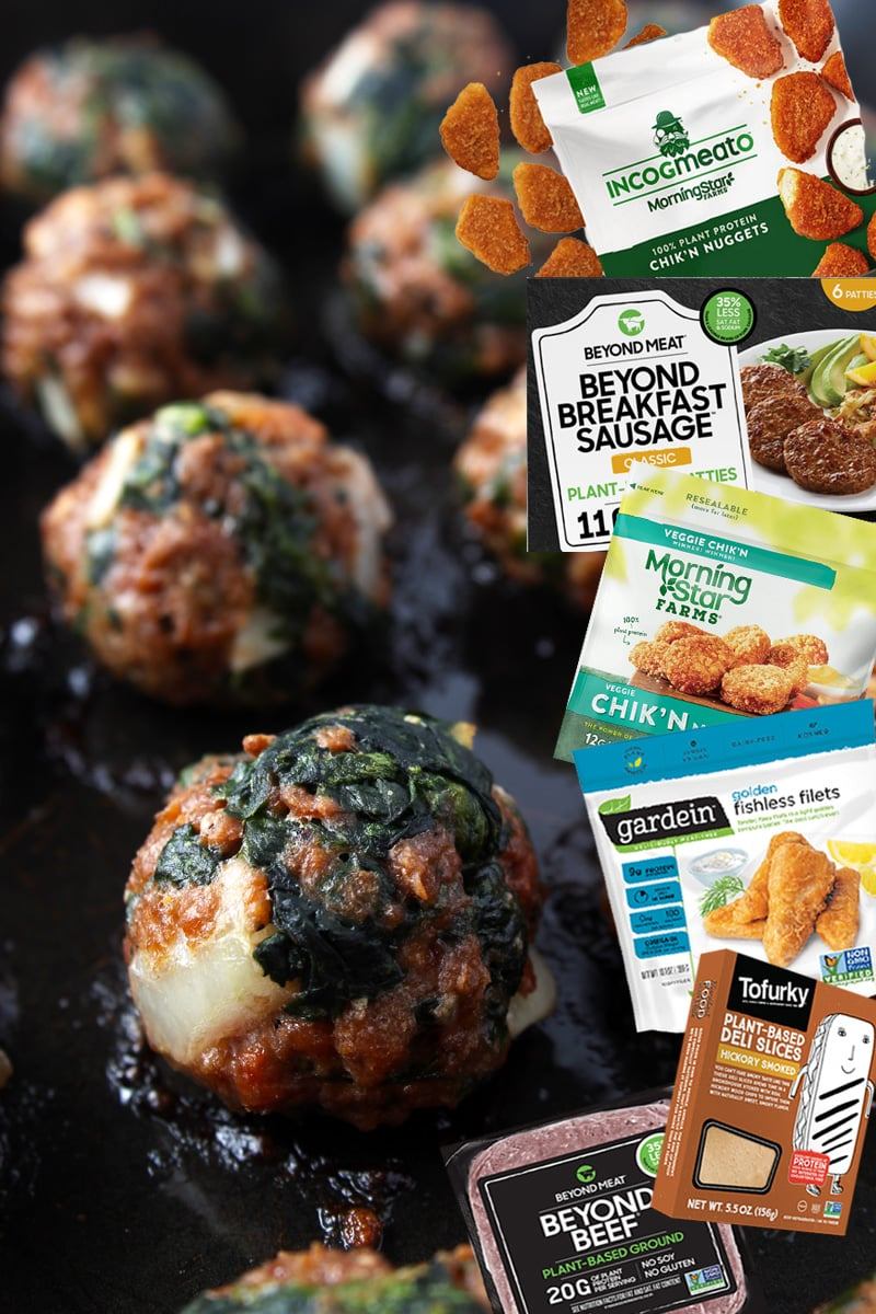 Picture of vegan meatballs with a collage of different vegan meat products.