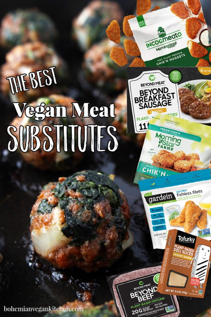 Pinterest pin of the best vegan meat substitutes.