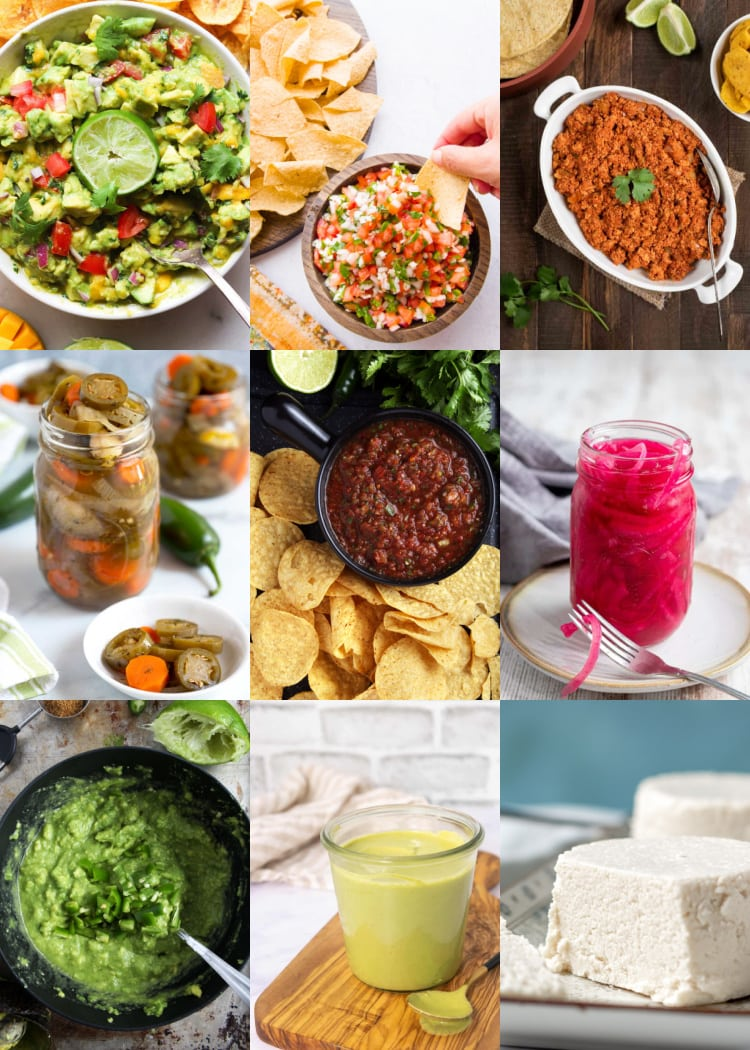 Picture of a collage of taco toppings.