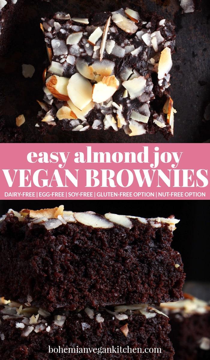 almond joy brownies pinnable image