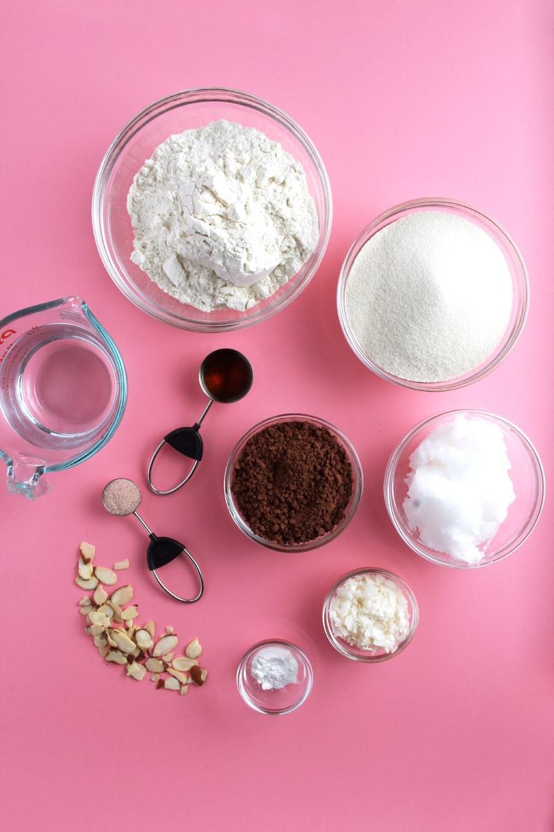 picture of almond joy brownie ingredients.