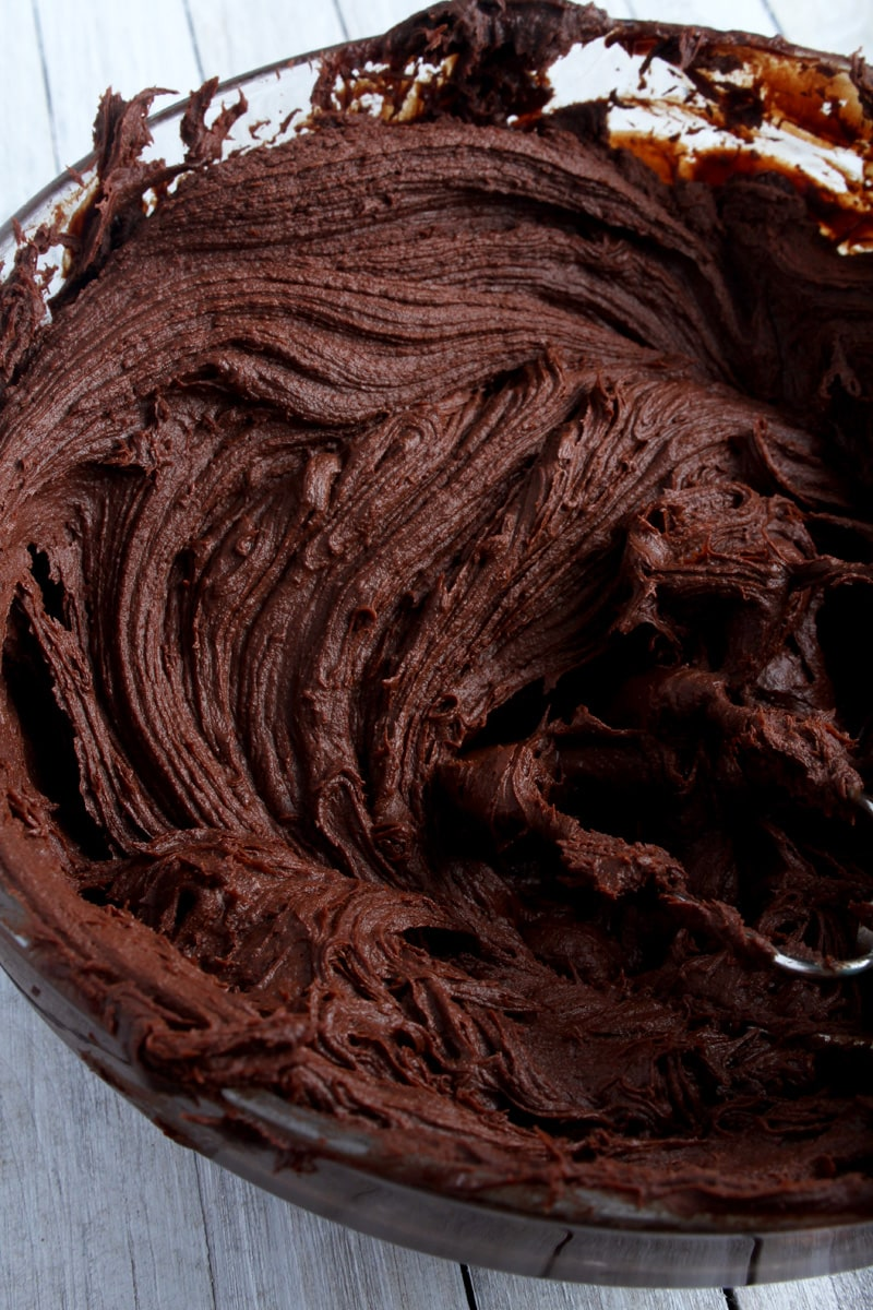 side view of fluffy vegan chocolate ganache frosting