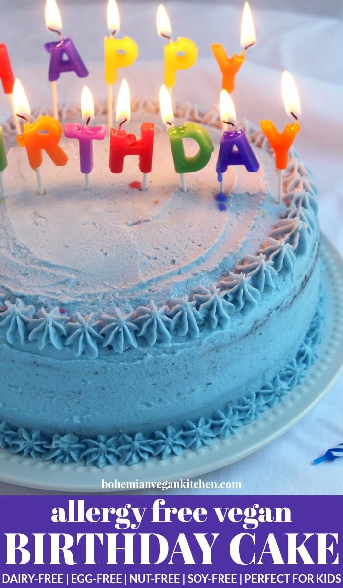 pinnable image of allergen free birthday cake