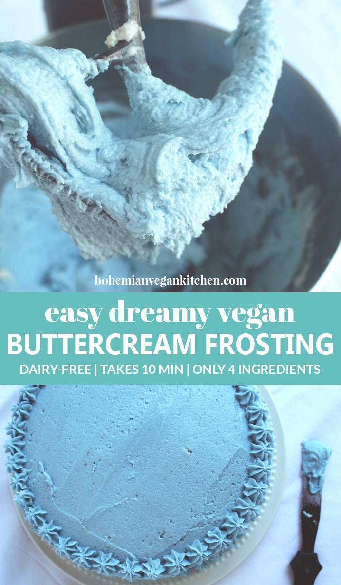 pinnable image of vegan buttercream frosting