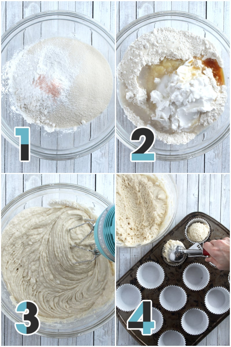 a collage of steps 1-4 for making vanilla cupcakes.