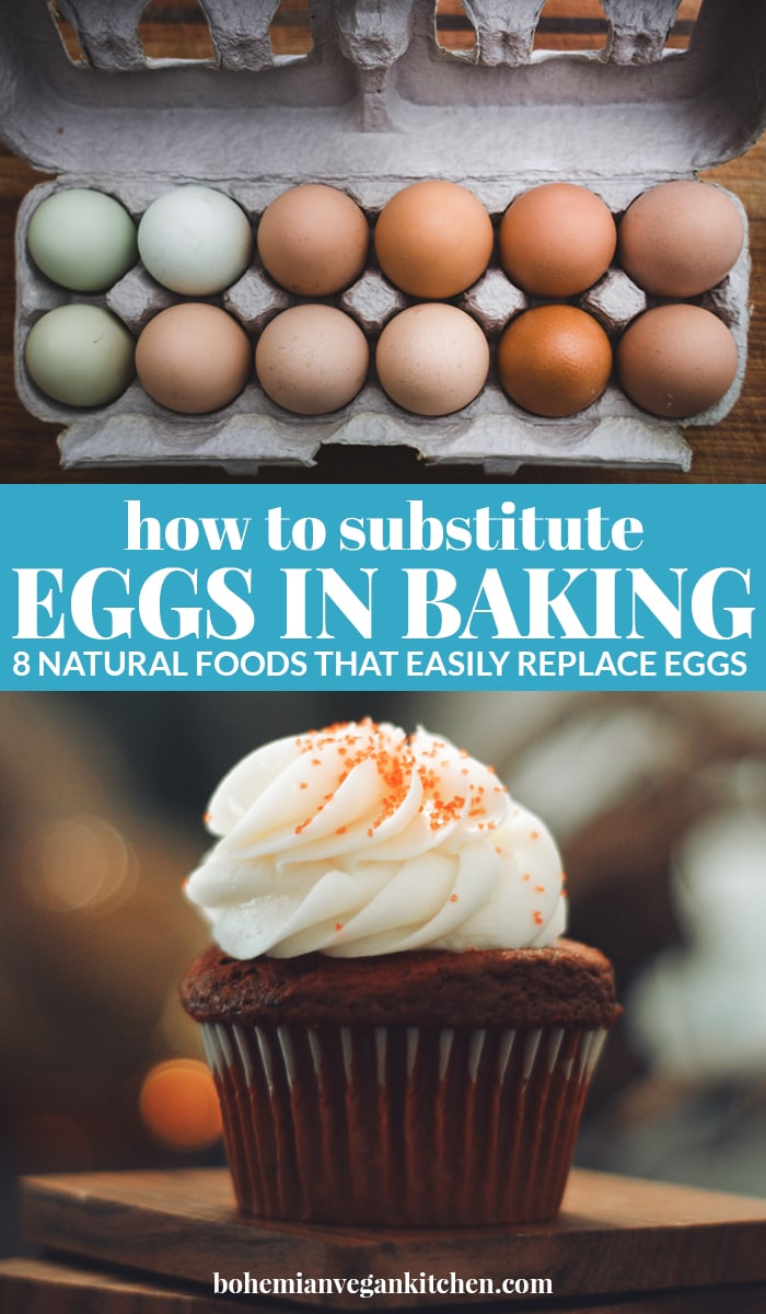 pinnable image for substituting eggs in baking.