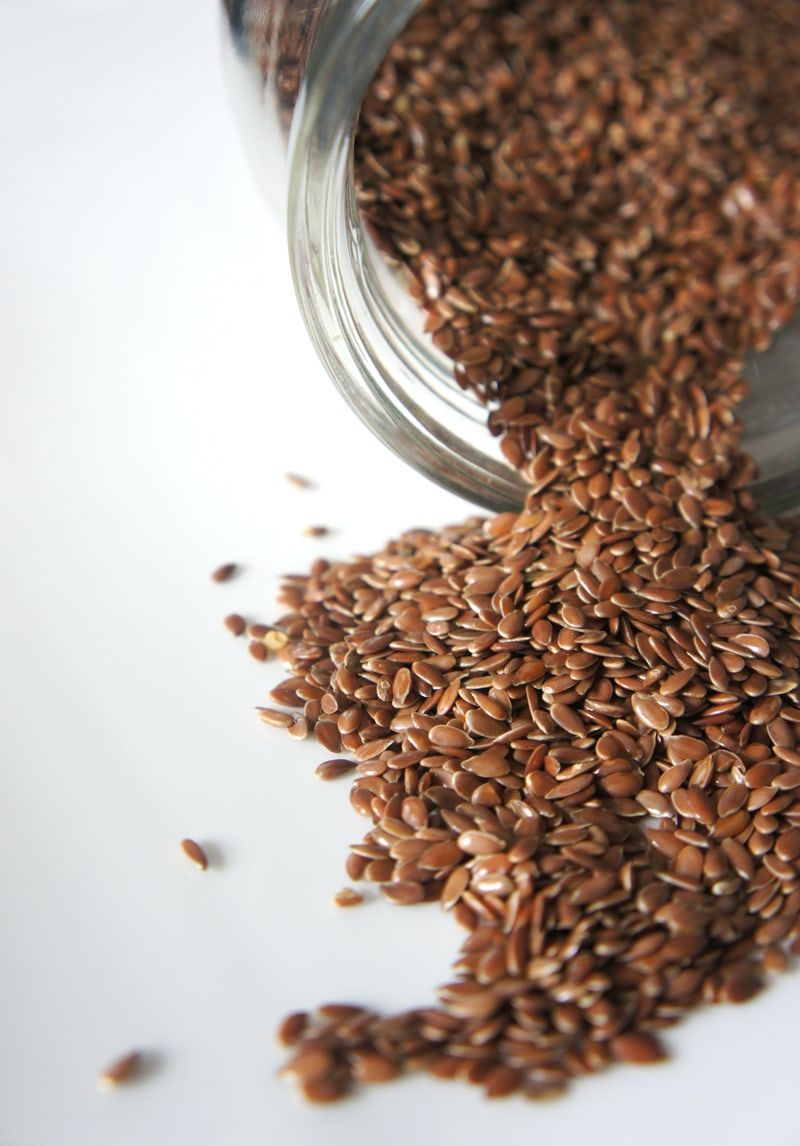 substitute eggs in baking: image of spilled flaxseed.
