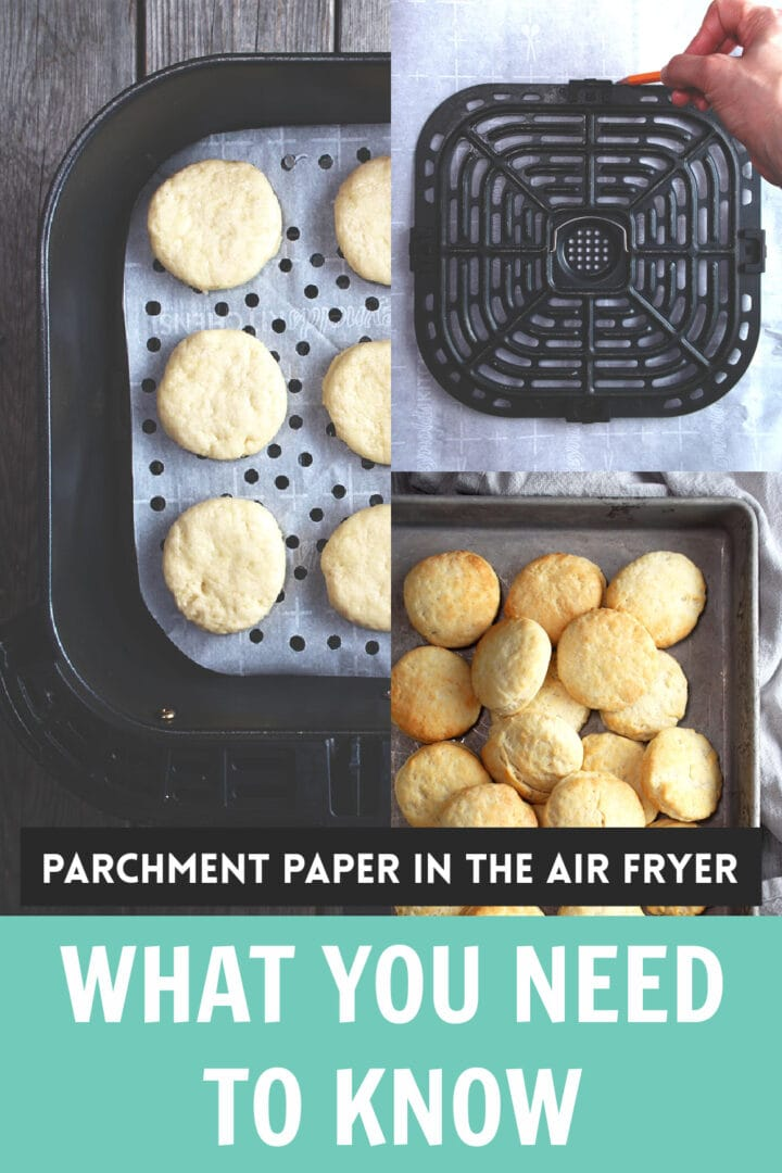 pinnable image for parchment paper in air fryer
