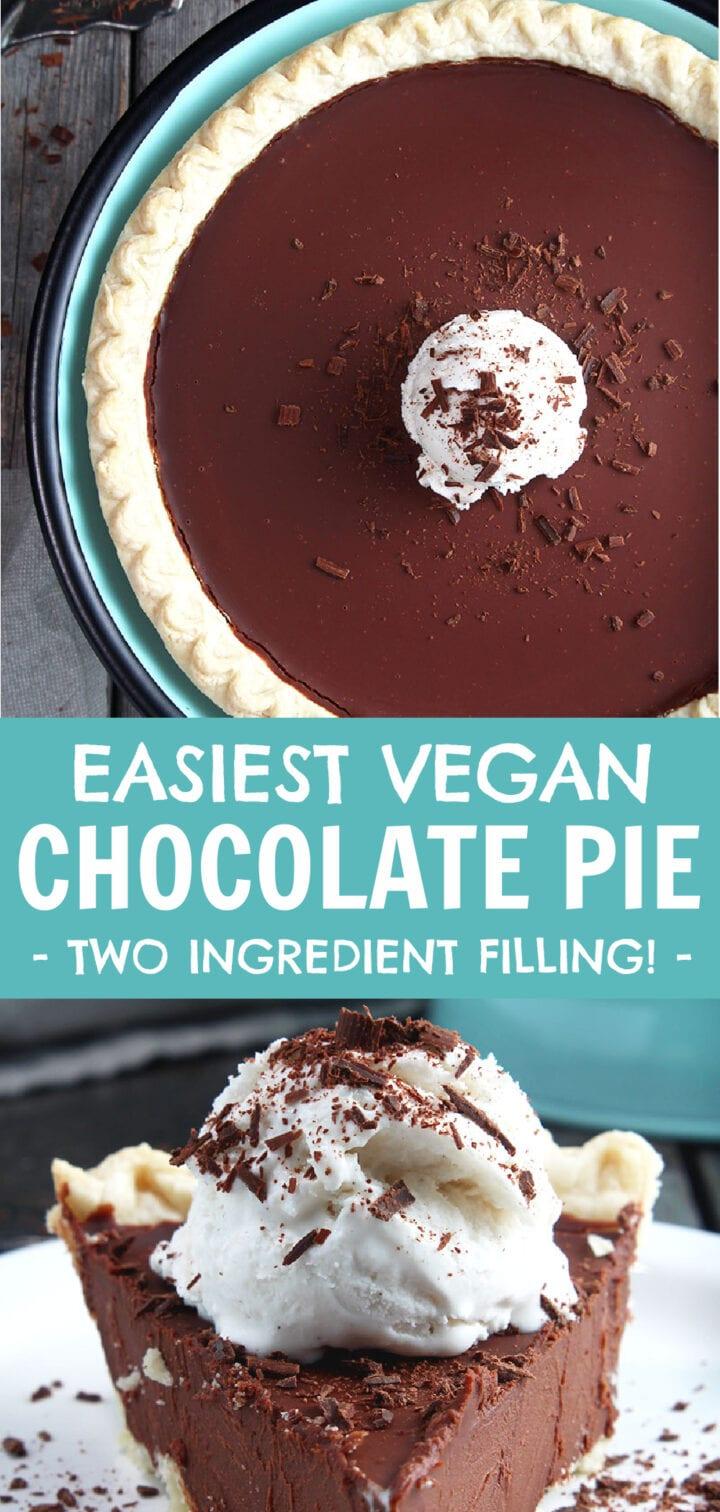 pinnable image of vegan chocolate pie