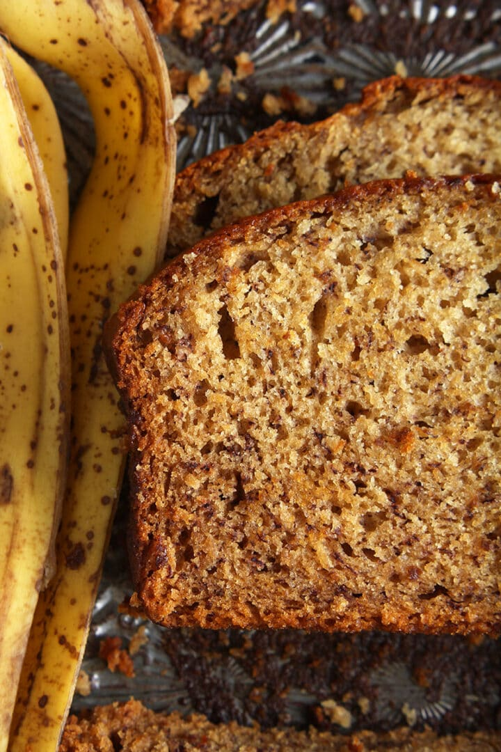 close up picture of a slice of vegan banana bread
