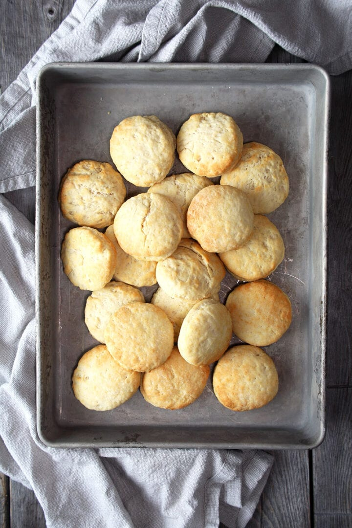 lastly, enjoying air fryer biscuits after using parchment paper!