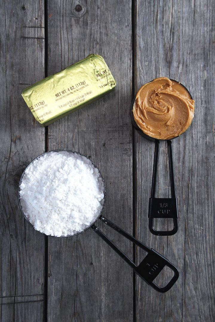 picture of ingredients for vegan peanut butter frosting