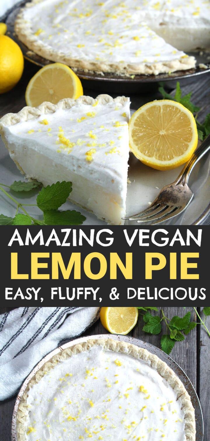 pinnable image of vegan lemon pie