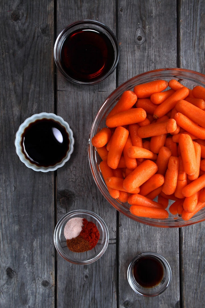 image of all the ingredients for instant pot carrots, in separate bowls