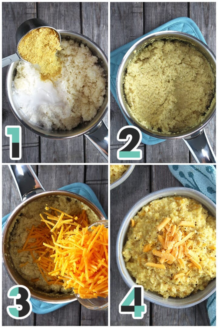 step-by-step pictures of cauliflower grits being made