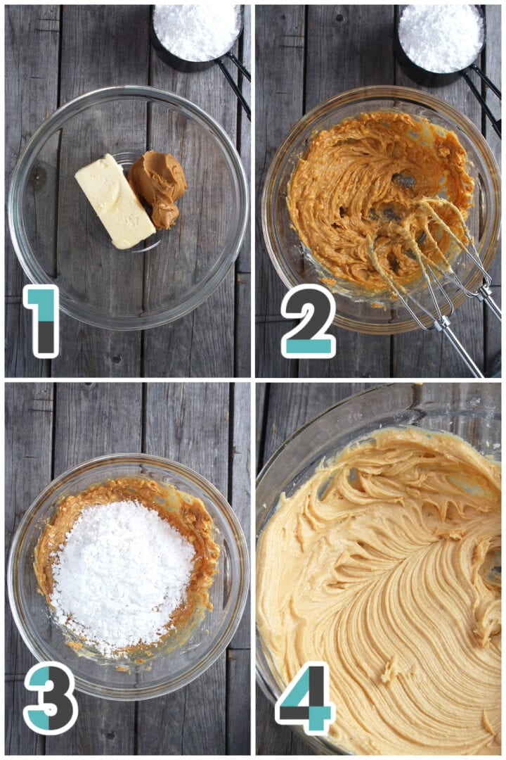 step-by-step collage of making vegan peanut butter frosting