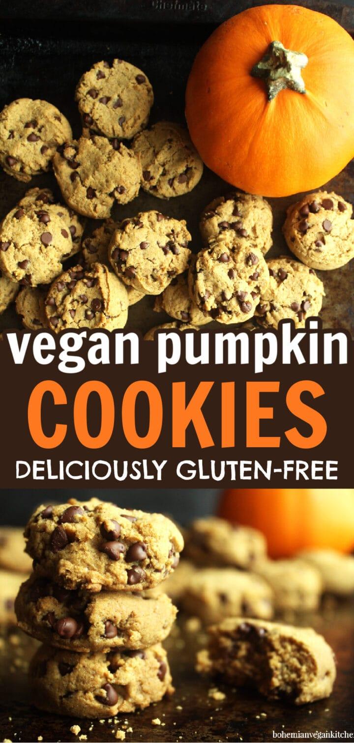 pinnable image of vegan pumpkin cookies