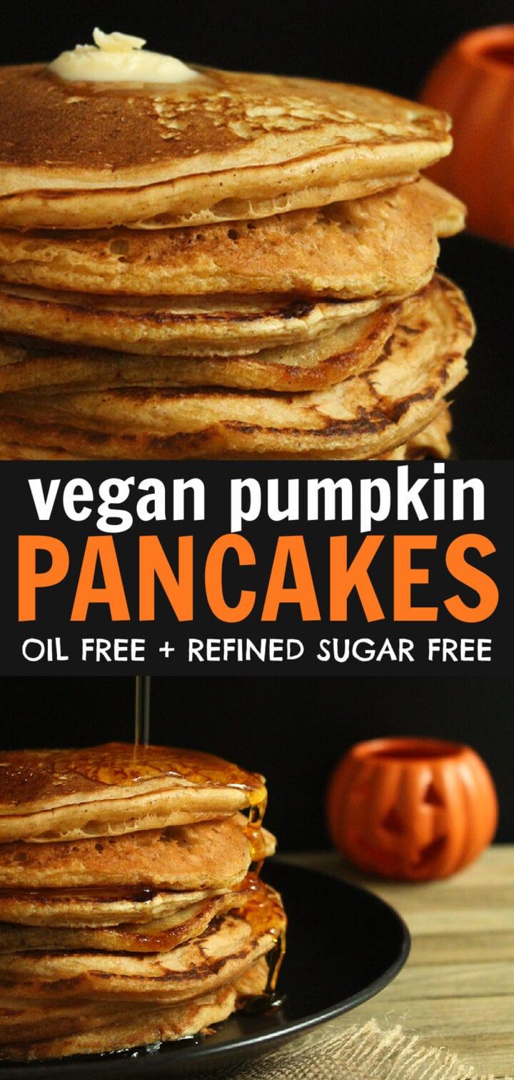 pinnable image of vegan pumpkin pancakes
