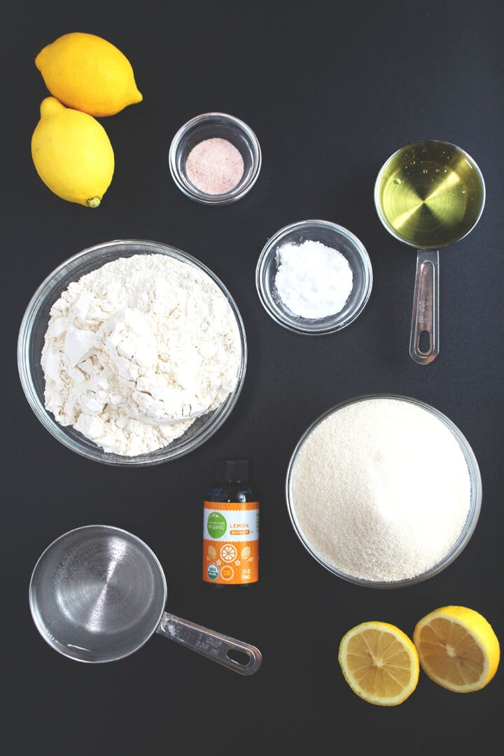 the ingredients needed for vegan lemon cake