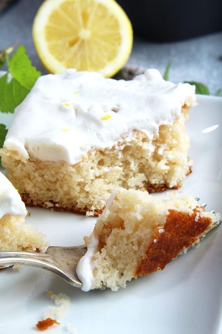 picture of a bite of vegan lemon cake
