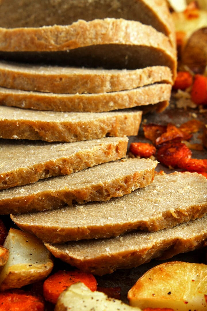 close up picture of vegan turkey sliced thick