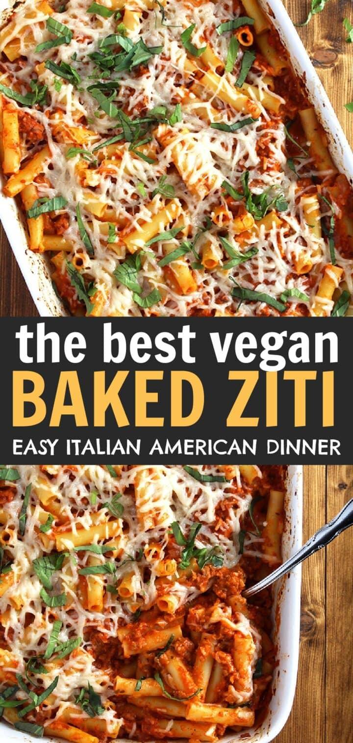 pinnable image of vegan baked ziti