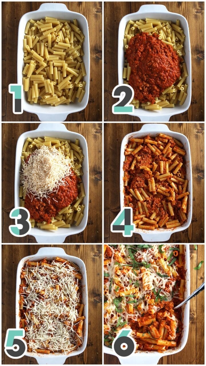 step by step pictures of preparing the vegan baked ziti casserole