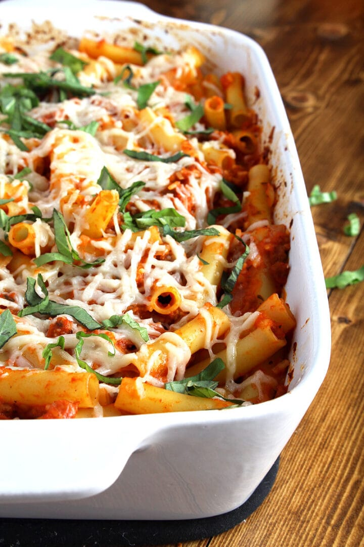 side picture of vegan baked ziti in large casserole dish
